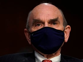 U.S. Special Envoy for Iran and Venezuela Elliott Abrams waits to testify before the Senate Foreign Relations Committee on Capitol Hill in Washington, September 24, 2020.