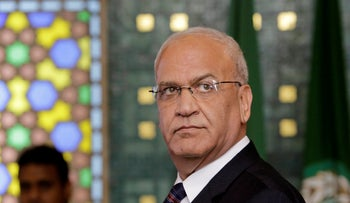 Palestinian negotiator, Saeb Erekat, speaks during a press conference, following an emergency meeting at the Arab League headquarters in Cairo, Egypt, August 11, 2014.