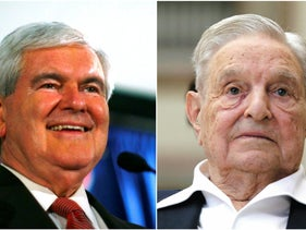 Newt Gingrich, left, and George Soros.