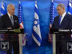 Then-Vice President Joe Biden and Prime Minister Benjamin Netanyahu delivering joint statements during a meeting in Jerusalem, March 9, 2016.