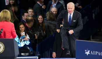 President-elect Joe Biden at the AIPAC Policy Conference in Washington, U.S., March 20, 2016.