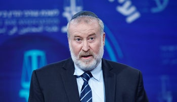Attorney General Avichai Mendelblit at a conference, March 2020.