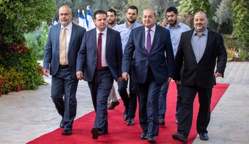 Members of the Joint List at the President's Residence in Jerusalem, September 2019. Mansour Abbas, right, Ahmad Tibi, Ayman Odeh and Osama Saadi.