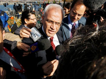 Saeb Erekat talking to reporters at the Annapolis conference attended by President George W. Bush, Israeli Prime Minister Ehud Olmert and Palestinian President Mahmoud Abbas. November 27, 2007.
