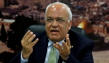 Saeb Erekat, secretary general of the Palestine Liberation Organization's Executive Committee, in Ramallah, the West Bank, 2019.