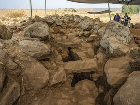Massive basalt boulders: Israel Antiquities Authority excavation at Hispin