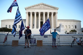 Supporters of U.S. President Donald Trump protesting outside the U.S. Supreme Court building in Washington, November 10, 2020.