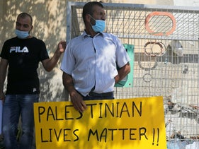 A demonstration in support of Ahmed Manasra in front of the military court in Jaffa during the trial of Soldier A., August 17, 2020.