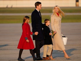 Ivanka Trump and her husband Jared Kushner board Air Force One with their children Arabella and Joseph, September 22, 2020, at Andrews Air Force Base, Md.