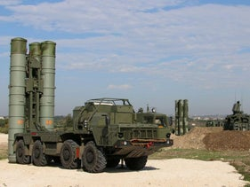 Russian S-400 air defense missile systems at the Hmeimim airbase in Syria, November 2015.