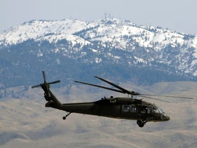 A UH-60 Black Hawk helicopter lifts off from Gowen Field in Boise, Idaho, U.S., April 7, 2012. For illustration purposes only.