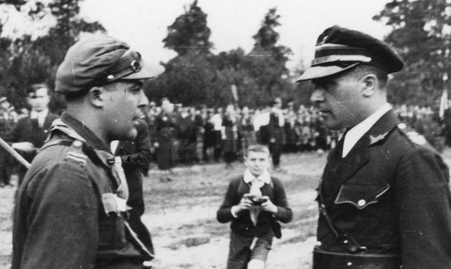 """Lotek Salzwasser, left, with the Betar commissioner in Poland. """"If Salzwasser  had been from Hashomer Hatzair he would have survived,"""" said Kremmerman, a former partisan, in his testimony."""
