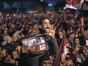 Protesters in Tahrir Square, Cairo, in February 2011.