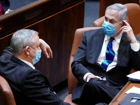 Alternative Prime Minister and Defense Minister Benny Gantz (Kahol Lavan) and Prime Minister Benjamin Netanyahu (Likud) at the Knesset, Jerusalem, May 2020.