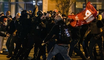 Members of Antifa and Proud Boys clash in the middle of the street on November 14, 2020 in Washington, D.C.