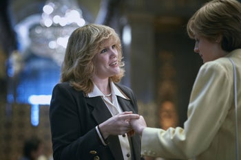 """Emerald Fennell and Emma Corrin as Camilla Parker Bowles and Lady Diana Spencer in season 4 of Netflix's """"The Crown."""""""