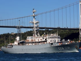 Russian Navy's intelligence vessel Priazove (SSV-201) sails in the Bosphorus, on its way to the Mediterranean Sea, in Istanbul, Turkey, August 14, 2020.