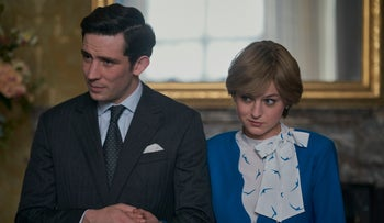 """Josh O'Connor and Emma Corrin as Charles and Di in Netflix's """"The Crown."""""""