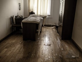 An office turned makeshift treatment room at the bombed out hospital in Martakert, October 2020
