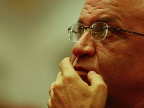 Saeb Erekat at the thirtieth anniversary celebration of the Hadash political party, Nazareth, December 7, 2007.