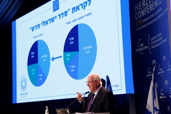 President Rivlin explaining the differing tribes and outlooks in Israeli society at a conference in Herzliya, June 7, 2015