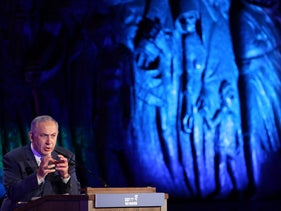 Prime Minister Benjamin Netanyahu speaks at Holocaust Remembrance Day at Yad Vashem, Jerusalem, May 4, 2016.