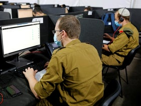 Soldiers at the Israeli army's epidemiological investigation center, September 2020