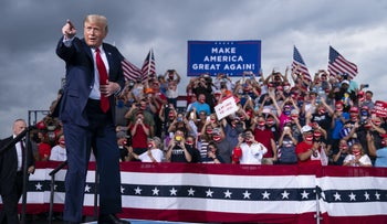 President Donald Trump arriving to speak at a campaign rally at Smith Reynolds Airport in Winston-Salem, North Carolina, September 8, 2020.