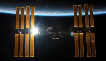 The International Space Station is seen from the Space Shuttle Endeavour on May 29, 2011