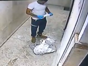 Footage of the Magen David Adom employee in the building in Jaffa.