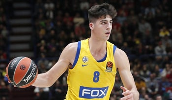 Maccabi Tel Aviv's Deni Avdija controlling the ball during the EuroLeague basketball match between Maccabi and Olimpia Milan, November 19, 2019.