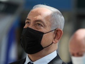 Benjamin Netanyahu during a visit to Ben-Gurion International Airport, November 2020.
