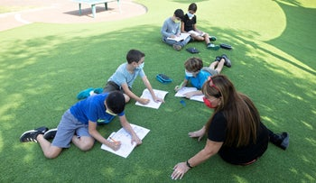 A capsule with fifth graders learning outside in Tel Aviv, November 9, 2020.