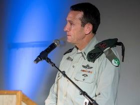 Herzi Halevy, then head of Military Intelligence, at an IDF ceremony, December 28, 2017.