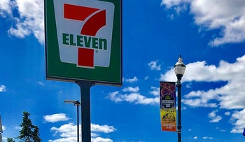 A 7-Eleven sign in Michigan, 2019.