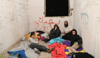 Settler families squatting at abandoned settlement site of Sa-Nur on Tuesday.