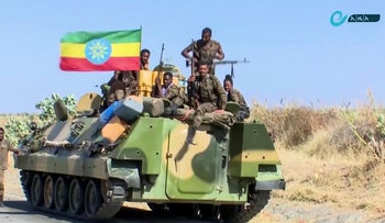 Image from undated video released by state-owned Ethiopian News Agency on November 16, 2020, showing forces on a road in an area near the border of the Tigray and Amhara regions of Ethiopia.