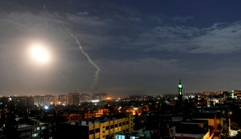 Missiles flying into the sky near international airport, in Damascus, Syria, January 21, 2019.