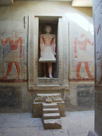 Mereruka vizier's funeral statue in front of his false door at his Saqqara tomb