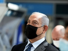 Netanyahu at Ben Gurion Airport, early November 2020.