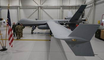 The UAE deal includes the second-largest sale of U.S. drones to a single country. In this file photo, a U.S. Air Force MQ-9 Reaper drone sits in a hanger at Amari Air Base, Estonia, July 1, 2020.
