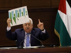 Palestinian President Mahmoud Abbas attends a virtual meeting with Palestinian factions over the Israel-UAE deal to normalize ties, in Ramallah, September 3, 2020.