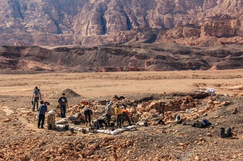 Archaeologists excavating at the copper mines of Timna in the Aravah Valley