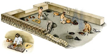 An artists' reconstruction of a metal workshop in the Phoenician port at Tel Dor, one of sites included in the study