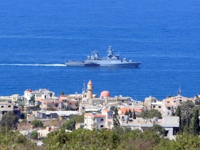 A UN naval ship is pictured off the Lebanese coast in the town of Naqoura, near the Lebanese-Israeli border, southern Lebanon October 14, 2020.
