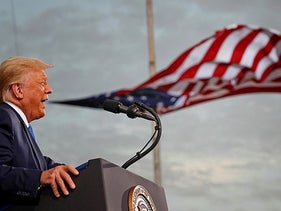 U.S. President Donald Trump speaking at a campaign rally at Cecil Airport in Jacksonville, Florida,  September 24, 2020.
