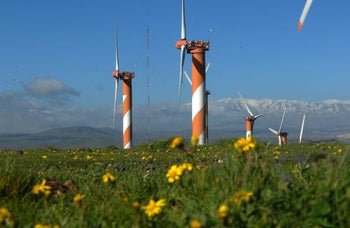 A wind farm in the Golan Heights.