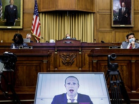 "Facebook CEO Mark Zuckerberg speaks via video conference during a House Judiciary Subcommittee meeting  on ""Online Platforms and Market Power"", on Capitol Hill, in Washington, U.S., July 29, 2020."