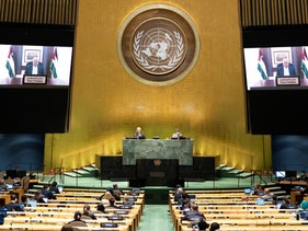 Palestinian President Mahmoud Abbas speaks in a pre-recorded message which was played during the 75th session of the United Nations General Assembly, Friday, September 25, 2020