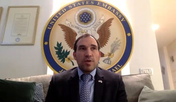 Rabbi Aryeh Lightstone, a senior aide to the U.S. ambassador to Israel, speaks from the embassy in Jerusalem to an online conference of Christians United for Israel, April 30, 2020. (YouTube)